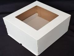 Тортница Эконом 300x300x150 мм с квадратным окном белая