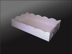"""Упаковка для  конфет, эклеров, пирожного и прочих сладостей белая 200х100х30 мм """"Шоколад"""""""